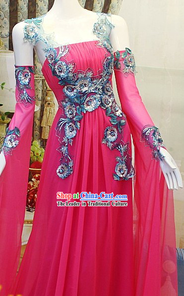 Stunning Handmade Pink and Blue Lace Evening Dress for Ladies