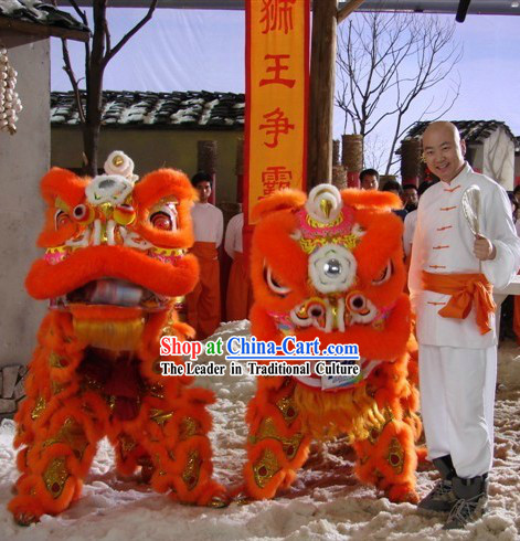 Orange Long Wool Lion Dance Mask Costumes Complete Set