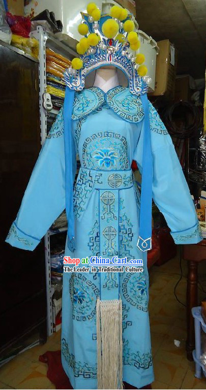Ancient Chinese Opera Fighter Costumes and Hat for Men