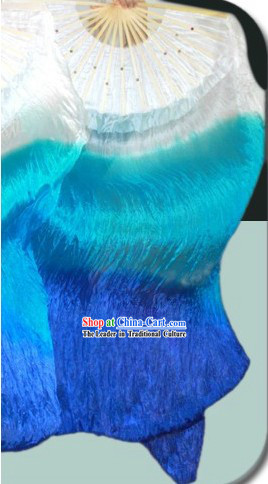 White to Blue Color Changing Chinese Silk Dance Fan