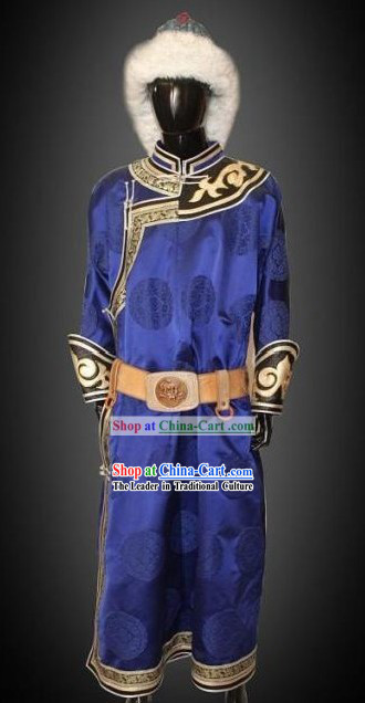 Traditional Chinese Mongolian Clothes and Hat Complete Set