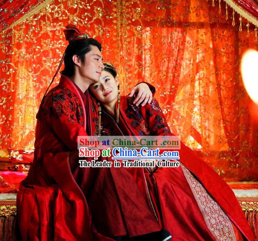 Ancient Chinese Ling Huchong and Ren Yingying Wedding Dresses for Men and Women