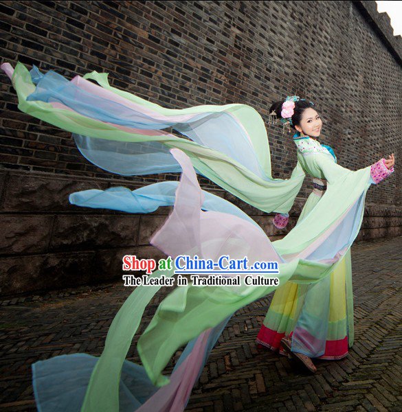 Ancient Chinese Palace Imperial Long Water Sleeves Dance Costumes Complete Set