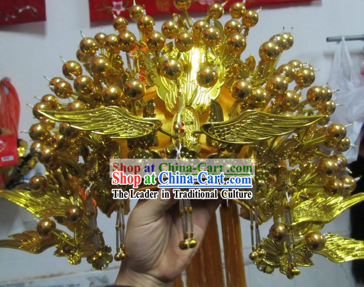 Traditional Chinese Handmade Golden Phoenix Crown