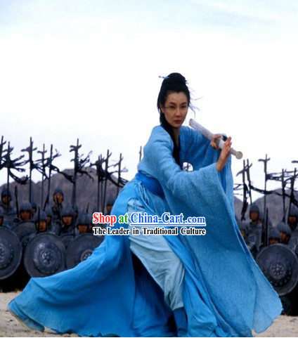 Chinese Classical Swordswoman Blue Costumes in Hero