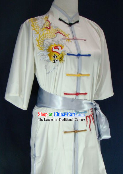 Chinese Kung Fu Embroidered Dragon Competition Silk Uniform for Men