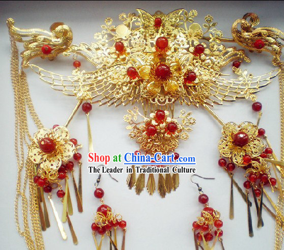 Chinese Classical Handmade Wedding Phoenix Crown and Earrings Complete Set