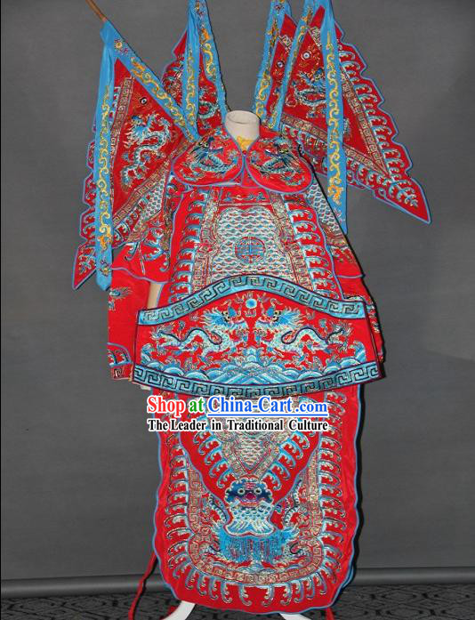 Peking Opera Embroidered Da Kao Armor Costumes with Flags for Men