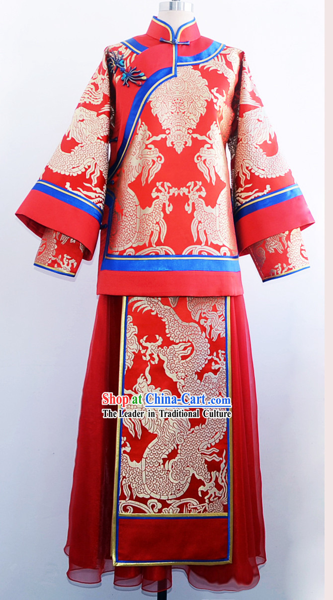 Stunning Chinese Mandarin Red and Gold Dragon Wedding Dress for Brides
