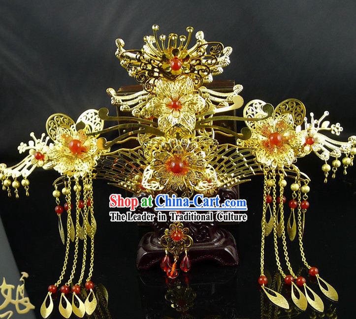 Ancient Chinese Style Handmade Phoenix Crown Hair Accessories for Brides