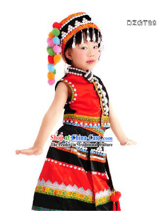 Traditional Chinese Dai Dance Costumes and Bamboo Hat Complete Set for Children