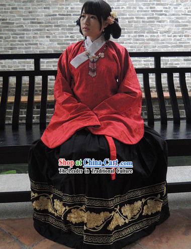 Ming Dynasty Princess Embroidered Jacket and Skirt Hanfu Clothing Complete Set