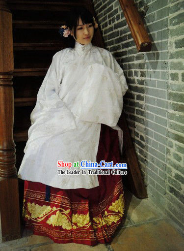 Ming Dynasty Princess Embroidered Flower Attire Clothing Complete Set
