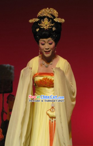 Ancient Chinese Stage Performance Tang Dynasty Empress Peony Costumes and Headwear