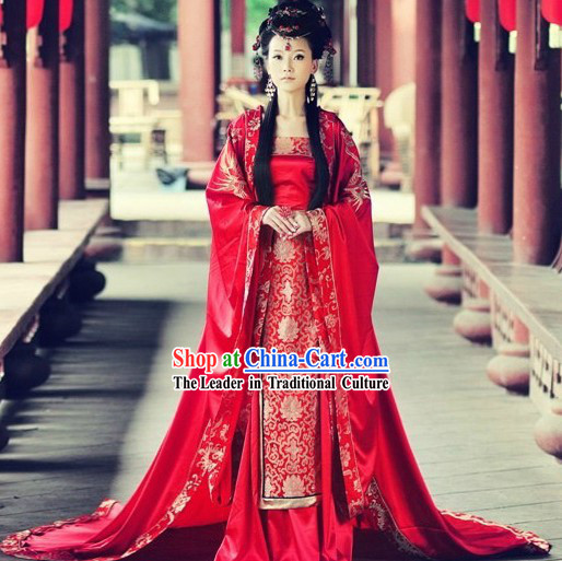Traditional Chinese Phoenix Wedding Attire and Hair Accessories Complete Set for Women