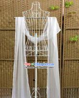 4 Meters Long Pure White Ancient Silk Cape to Go with Hanfu
