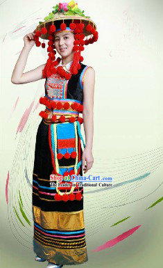 Traditional Chinese De Ang Dresses and Hat Complete Set for Women