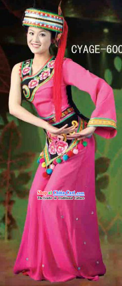 Traditional Chinese Ethnic Minority Dresses and Hat Complete Set for Women
