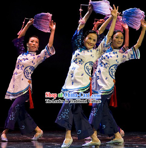 Chinese Classical Fan Dance Costume and Hair Accessories Complete Set for Women