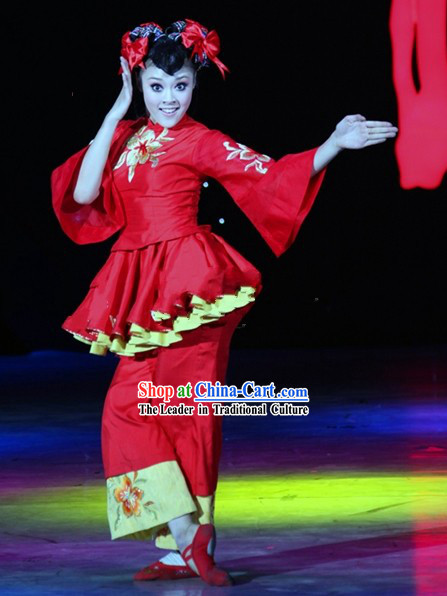 Chinese Mandarin Barbie Dance Costumes and Headgear Complete Set for Women