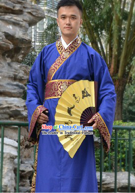 Blue Traditional Ancient Chinese Hanfu Clothing Complete Set for Men