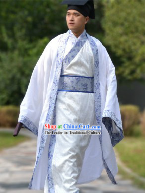 Blue Traditional Ancient Chinese Hanfu Clothing and Hat Complete Set for Men