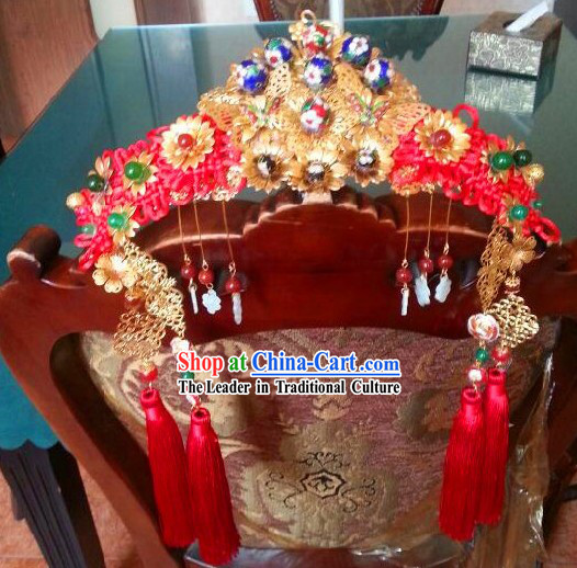 Ancient Chinese Imperial Palace Royal Brides Phoenix Hat Complete Set