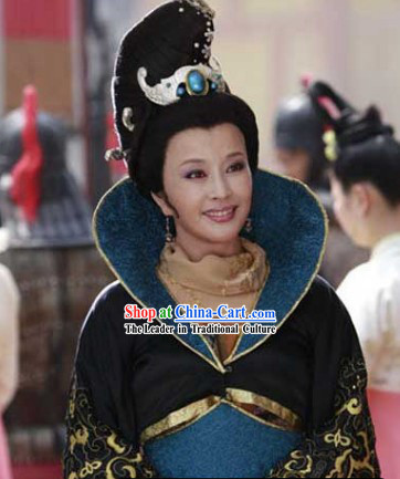 Wu Zetian First Female Chinese Emperor Costumes and Headdress Complete Set