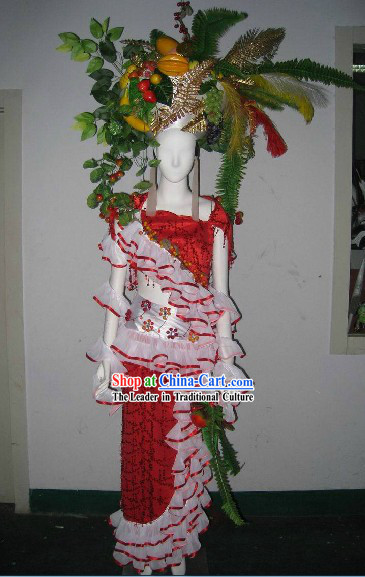 Forest Flower Grass Model Stage Performance Costumes and Headdress Complete Set