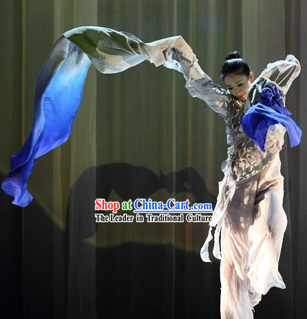 White to Blue Water Sleeve Shuixiu Practice Costumes