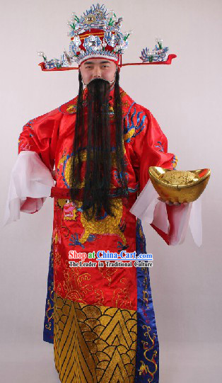 Chinese Lunar New Year Cai Shen Ye Costume Hat Beards Boots