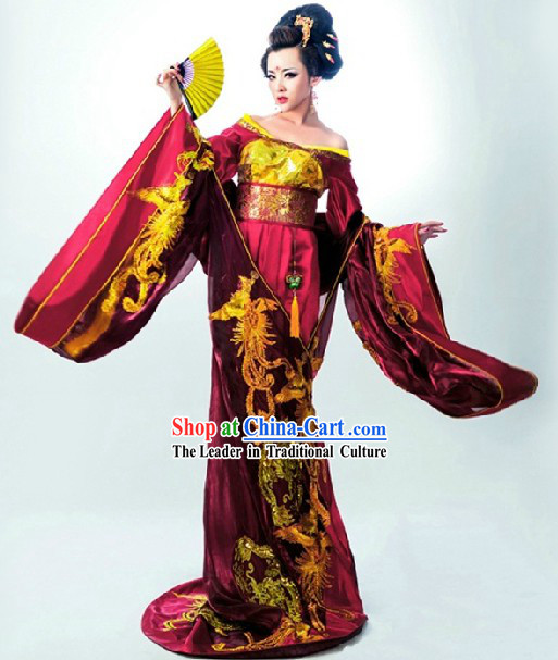 Ancient Chinese Imperial Royal Palace Empress Clothing and Headwear Complete Set