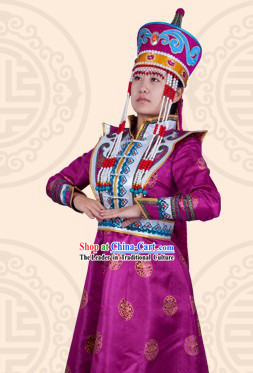 Traditional Chinese Mongolian Princess Clothing and Hat Complete Set