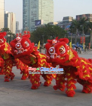 Lucky Red Happy New Year Handmade Hok San Lion Dance Costumes Complete Set