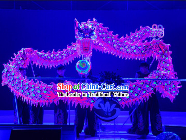 Supreme Handmade Happy Celebration Fluorescent Dragon Dancing Costumes Complete Set