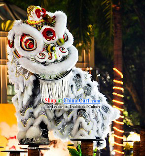 Friendly White Fur Adult Size Lion Dance Costumes Complete Set