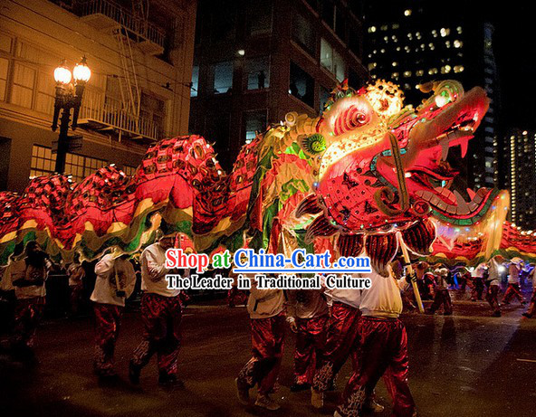 LED Lights Glowing Supreme Dragon Dance Costume Complete Set