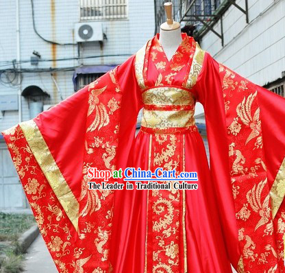 Traditional Chinese Phoenix Red Wedding Dress for Brides
