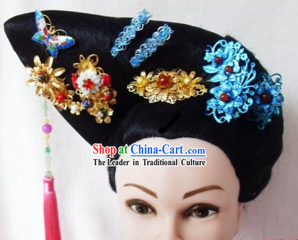 Qing Dynasty Imperial Concubine Handmade Wig and Hair Accessories