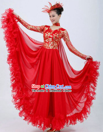 Chinese Red Modern Dance Costumes and Headpiece for Ladies