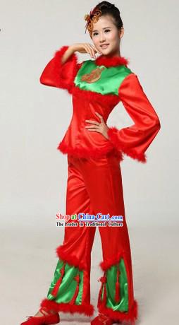 Chinese New Year Red Drummer or Fan Dance Costumes and Headpiece for Women