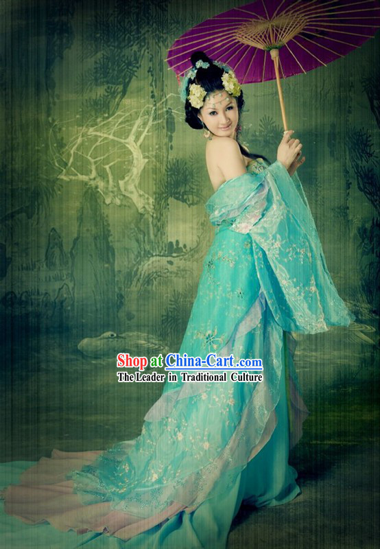 Ancient Chinese Butterfly Long Tail Han Fu Clothing Complete Set