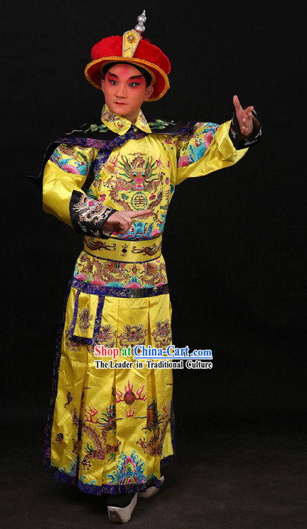 Chinese Qing Dynasty Qian Long Emperor Embroidered Dragon Robe and Crown for Men