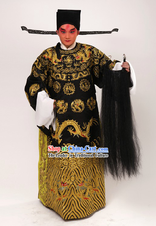 Chinese Beijing Opera Guan Gong Dragon Robe and Hat for Men