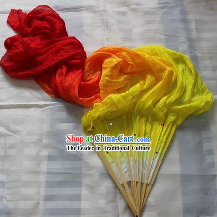 Handmade Colour Transition Long Silk Dance Flame Fan