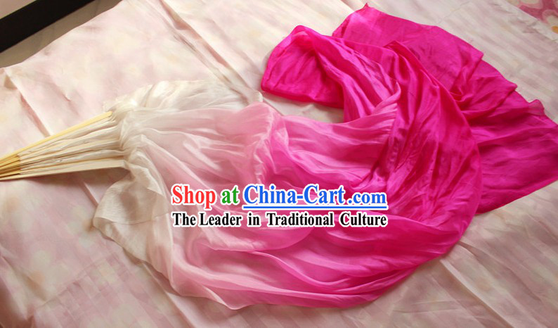 Chinese White to Pink Colour Transition Long Silk Fan Veils