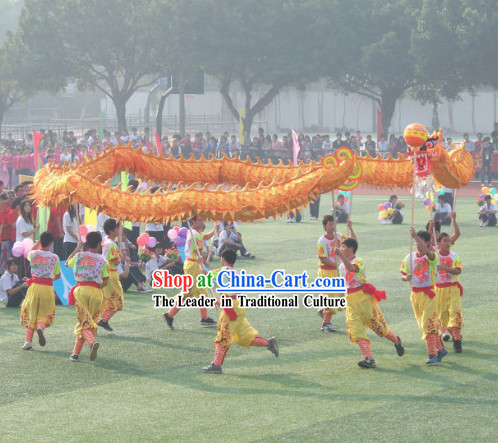 School Use Chinese Fluorescent Luminous Dragon Dancing Costumes Complete Set