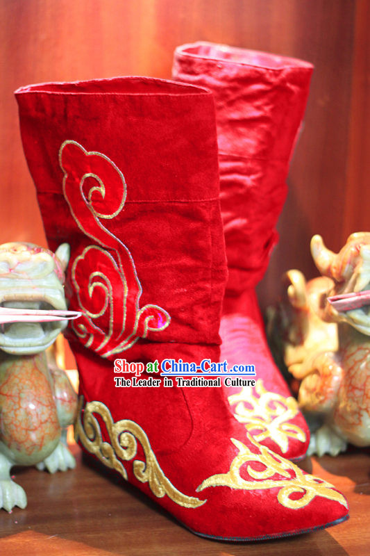 Ancient Chinese Style Red Hanfu Long Boots