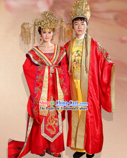 Ancient Chinese Imperial Palace Emperor and Empress Wedding Dresses Two Complete Sets