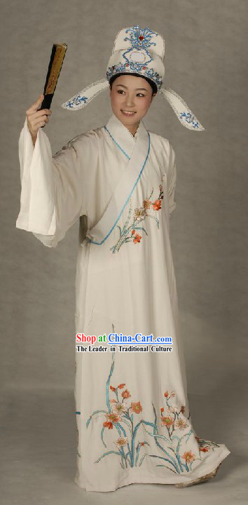 Ancient Chinese Opera White Xiao Sheng Robe and Hat for Men